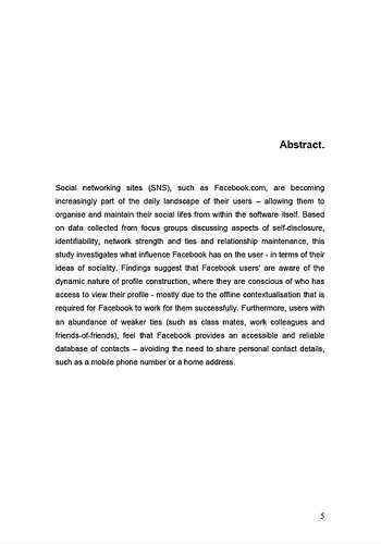 thesis abstract exle business sle dissertation abstracts english