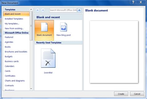 Creating A Document Tutorial Webucator - new document window of ms word 2007