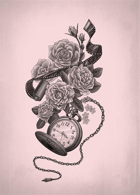 pocket watch and rose tattoo design pocket mortani