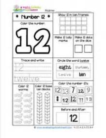 number worksheets for kindergarten number 12 worksheet