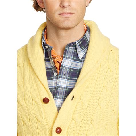 Pashmina Alya Polos 3 ralph cable shawl cardigan in yellow for lyst