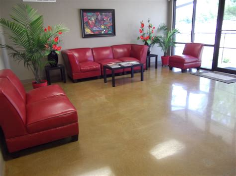 decorative painting concrete floors with epoxy design combine with sofa for livingroom decor