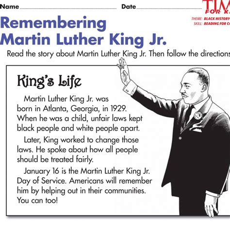 martin luther king jr biography for middle school students free printable word activities for kids searches on