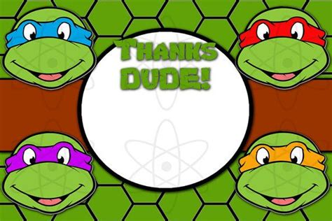 mutant turtles card template printable thank you card mutant by