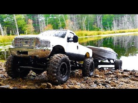 rc trucks with boats rc boat launch 4x4 rc truck with boat trailer axial