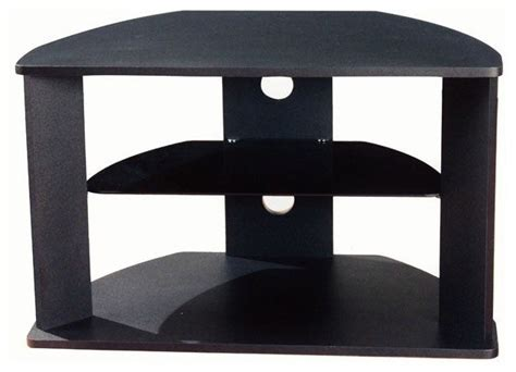 Corner Shelf Tv Stand by 4d Concepts Corner Tv Stand With Glass Shelf In Black