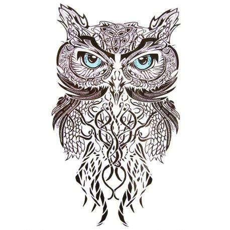 tatouage ephemere hibou tribal tempo tattoo