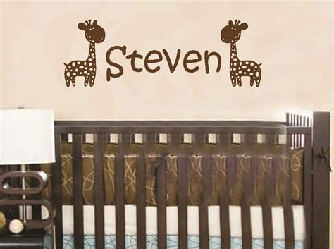 baby name wall stickers wall decal giraffe personalized baby name children custom