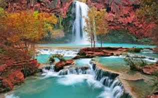 colorful waterfalls colorful waterfall wallpaper background 22190