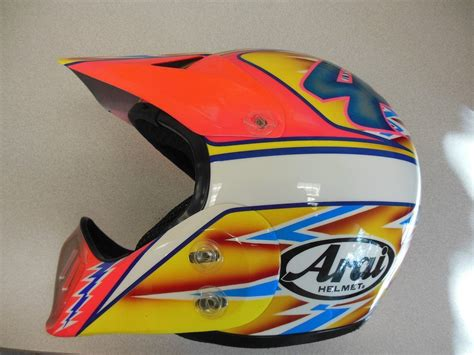 arai motocross helmets 80 s 90 s custom painted helmets of the moto