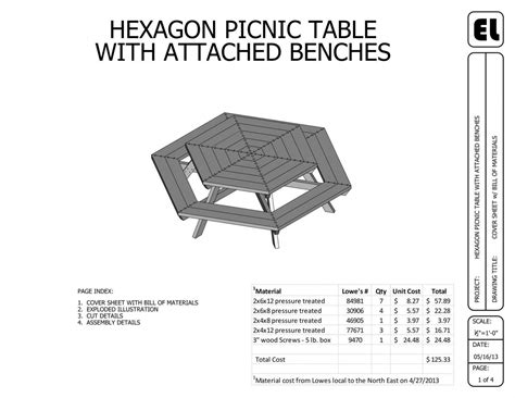 hexagon picnic table building plans blueprints diy