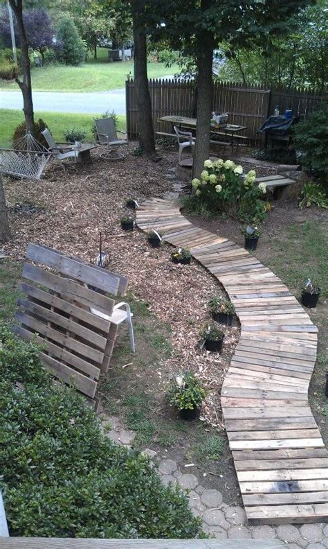 pathway ideas pallet wood walkway things i do places i go