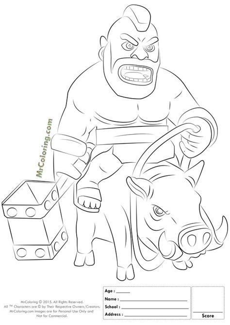 clash of clans dragon coloring page free printable clash of clans hog rider coloring pages 1