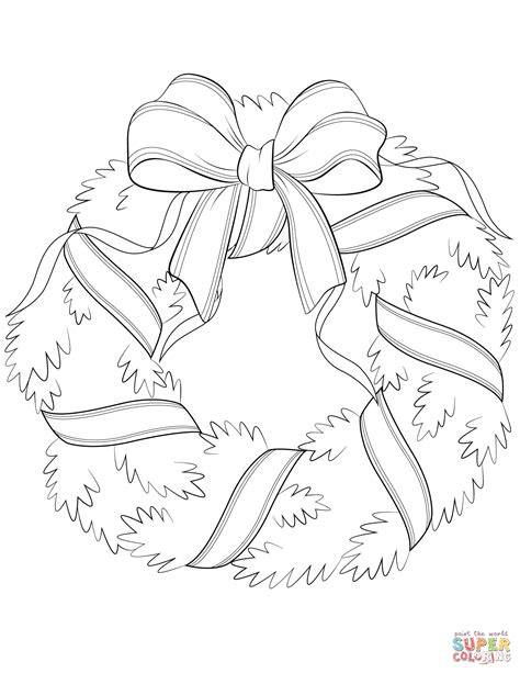wreath bow coloring page christmas wreath with red bow coloring page free