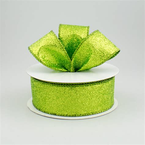 1 5 quot shimmering glitter wired ribbon lime green 10 yards