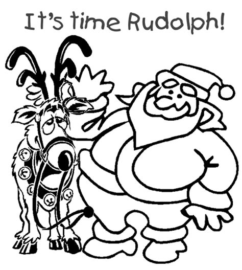 santa coloring pages with rudolph free coloring pages
