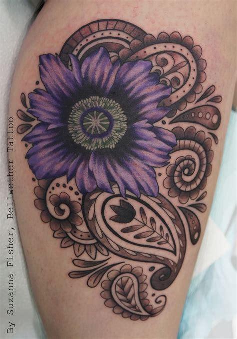 henna tattoo vancouver wa purple poppy with mehndi paisley design by suzanna