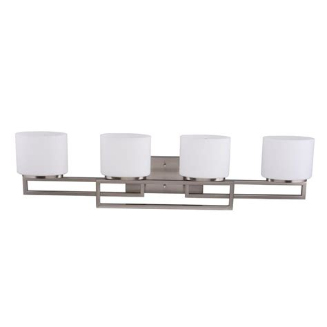 hton bay 4 light brushed nickel wall vanity light cbx1394 2 sc 1 the home depot hton bay 4 light brushed nickel vanity light with opal glass shades 20367 001 the home depot