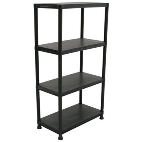 Hdx Shelf Storage Unit by Hdx 4 Shelf 15 In D X 28 In W X 52 In H Black Plastic Storage Shelving Unit 17307263b The