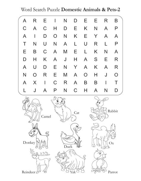word search puzzle domestic animals 2 download free word