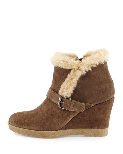 aquatalia carlotta faux fur lined suede wedge ankle boot