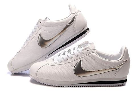 nike cortez leather shoes white silver