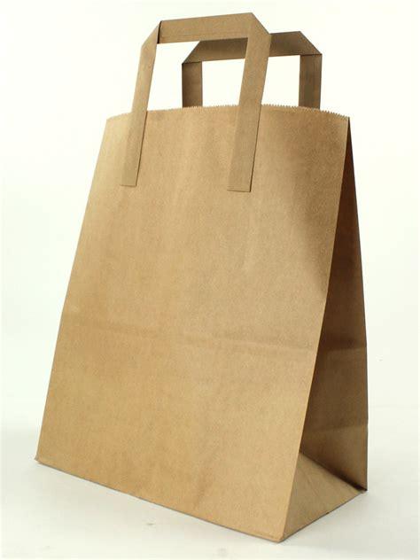 brown kraft flat handle paper carrier bags