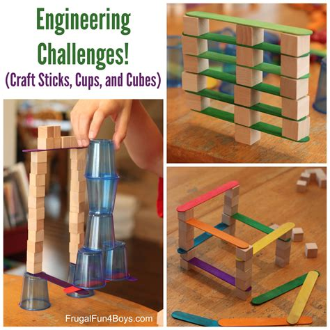Block Science 3 In 1 4 engineering challenges for cups craft sticks and