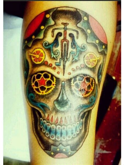 tattoo santa barbara my husband s cyclist sugar skull by sebastian at