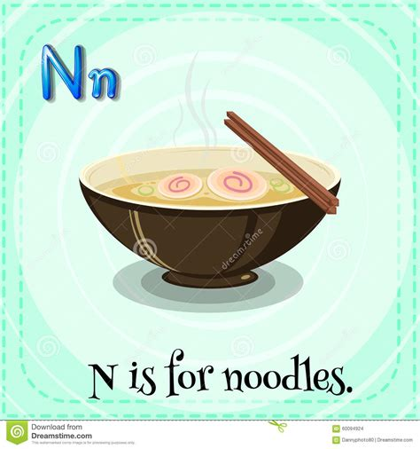 N Is For by Flashcard Letter N Is For Noodles Stock Vector