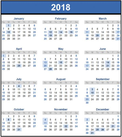 printable yearly calendar 2018 2018 calendar printable monthly yearly