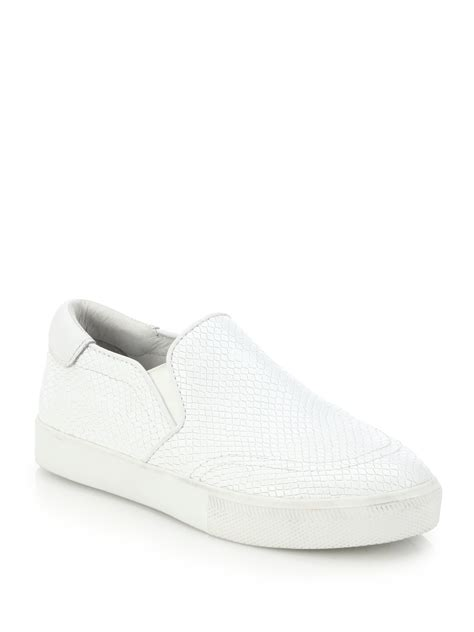 white slip on sneakers for lyst ash impulse embossed leather slip on sneakers in white