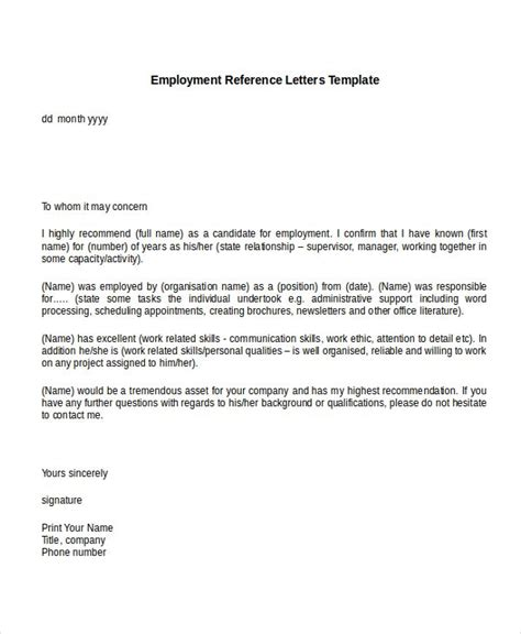 sample employment reference letter templates