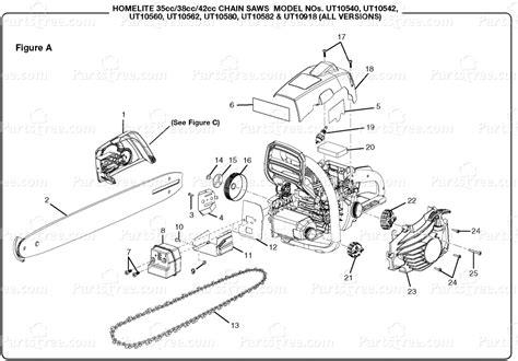 homelite 2 parts diagram homelite ut 10560 homelite 16 chainsaw 38cc figure a