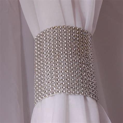 rhinestone curtains silver rhinestone mesh velcro band curtain tie event