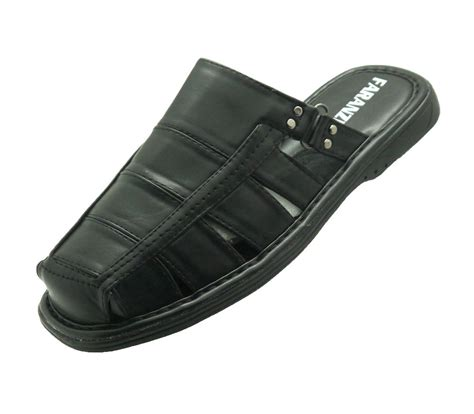 new s faranzi sandals flip flops leather black