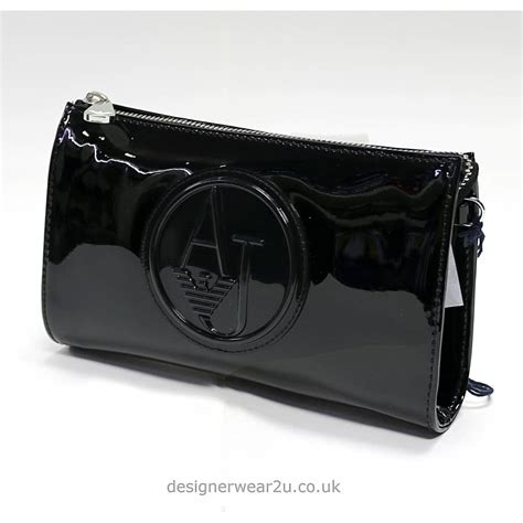 black patent clutch bag armani jeans ladies armani black patent small cross body