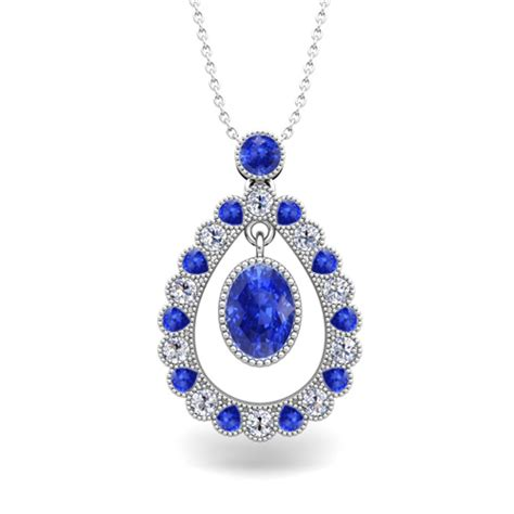vintage inspired and ceylon sapphire necklace 14k