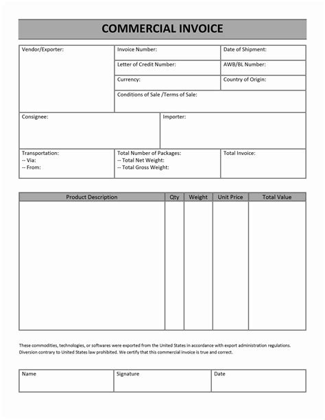 commercial invoice template word doc commercial invoice
