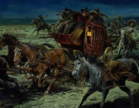 painting attack stagecoach attack painting by don langeneckert