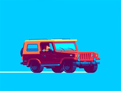 turquoise jeep dance gif road trip dog gif by tomas brunsdon find share on giphy