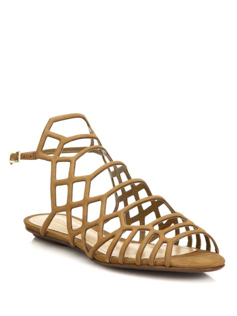 schutz sandals schutz gall leather cage flat sandals in lyst