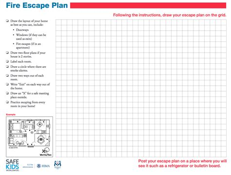 home fire escape plan template involving kids in fire safety safe ride 4 kids
