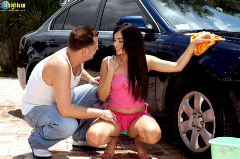 remarkable nymph in a pink crop top and skirt car washing and cock riding outdoors youx xxx