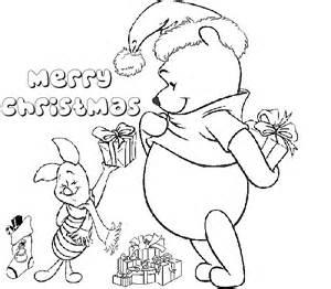 Santa amp winnie the pooh disney christmas coloring to print