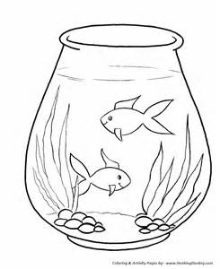 Fish Bowl Coloring Pages For Kids sketch template
