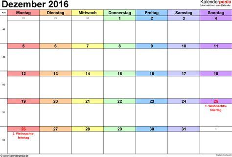 Kalender 2016 Dez Kalender Dezember 2016 Als Word Vorlagen