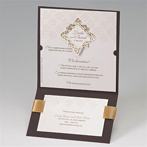 hochzeitseinladungen hochwertig hochzeitseinladung quot maida quot braun mit ornamenten und