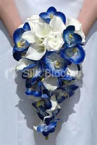 Artificial royal blue orchid ivory calla lily amp rose cascading bridal