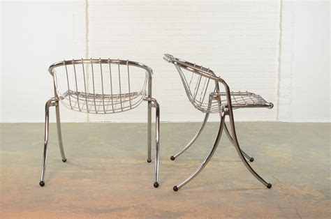 Metal Wire Dining Chairs by Dining Chairs By Gastone Rinaldi For Rima Set Of 2